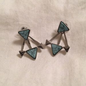 Free People Turquoise and silver earring jackets